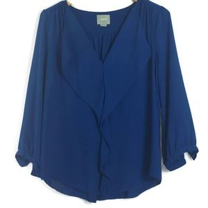 Maeve For Anthropologie  Top Blouse Blue Boho 12